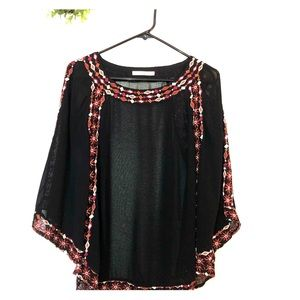 Sheer Black Hazel Boho Blouse Size M 076